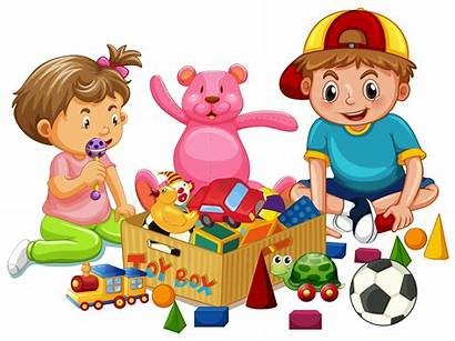 Playing Toys Sister Brother Vector Clipart Cartoon