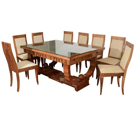 French Art Deco Walnut Dining Set With Eight Chairs At 1stdibs