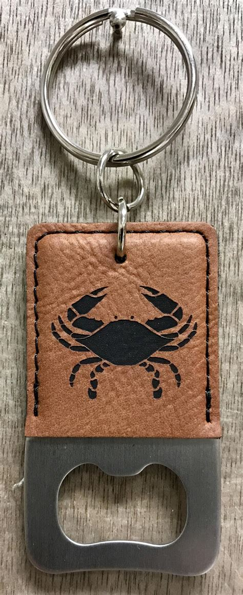 crab engraved leather bottle opener keychains