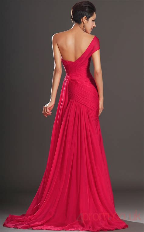 Red 100D Chiffon Trumpet/Mermaid One Shoulder Sweetheart ...