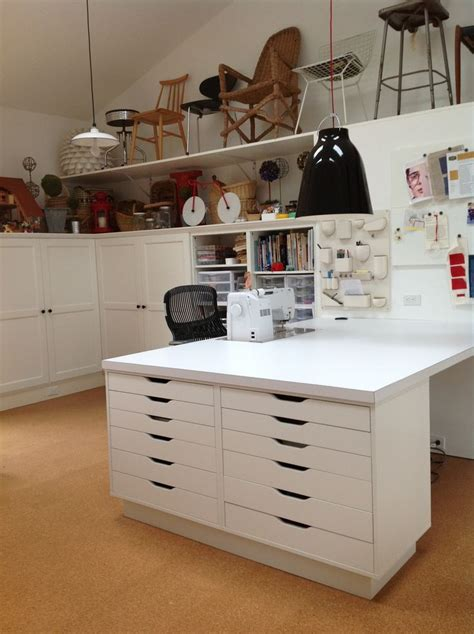 craft room storage cabinets quiltart studio sewing table supported by ikea cabinets