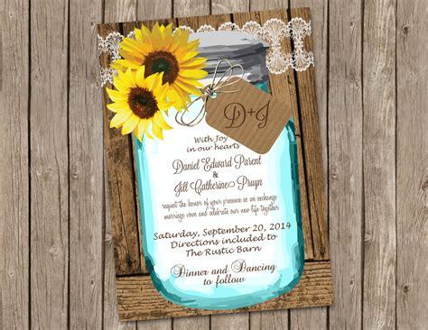 sunflower wedding invitation  shabby wood  mason jar