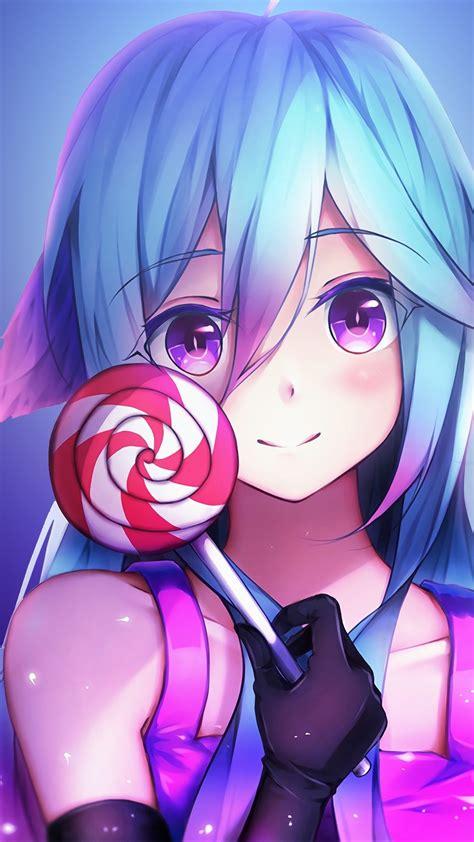 1080x1920 Anime Girl Cute Rainbows And Lolipop Iphone 7,6s