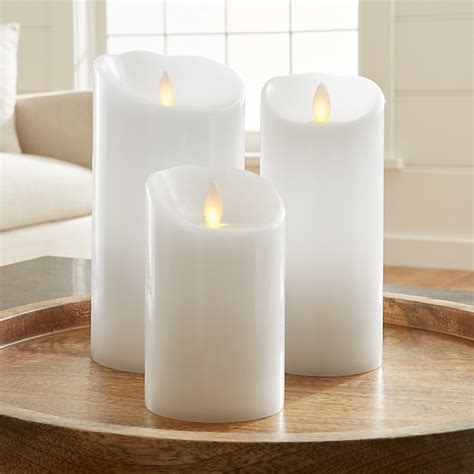 white flameless pillar candles crate  barrel