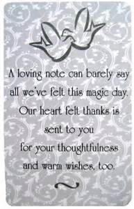 thank yous on wedding programs wedding gift thank you card quotes