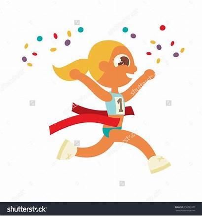 Marathon Runner Clipart Female Winner Blonde Crossing
