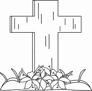Black and White Easter Cross and Lilies in the Grass Clip ...
