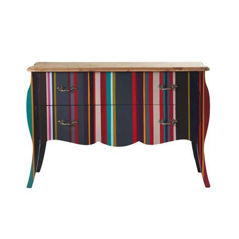 meuble de rangement chambre garcon commode à rayures en bois multicolore l 120 cm néon