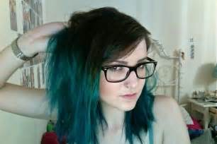 Short Ombre Hair Brown Green Teal