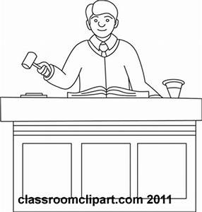 Legal Clipart- judge-in-courtroom-outline - Classroom Clipart