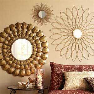 Petite gold burst round mirror the two flower