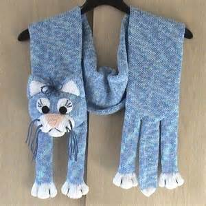 cat scarf knitted blue cat scarf diy
