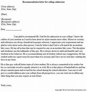 Re mendation Letter For Student Admission Letters Font