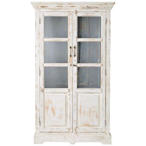 vitrine maison du monde vitrine en manguier blanche effet vieilli l 105 cm avignon maisons du monde