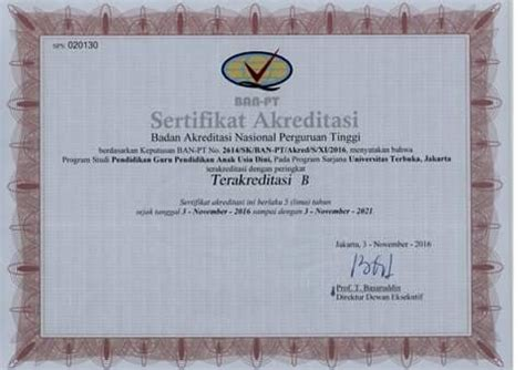 sk akreditasi perguruan tinggi dari ban pt info pns dan