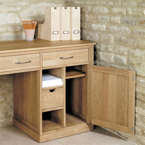 mobel oak large hidden office twin pedestal desk wooden
