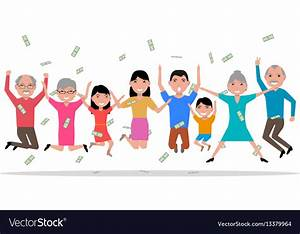 Cartoon happy people received the money Royalty Free Vector