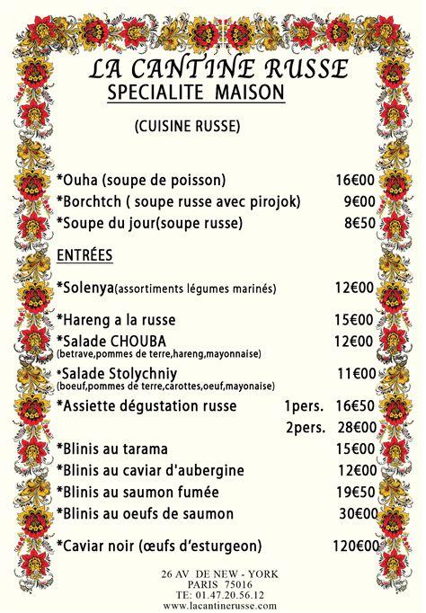 table de cuisine menu restaurant la cantine russe