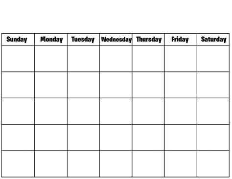blank schedule template printable blank monthly calendar template