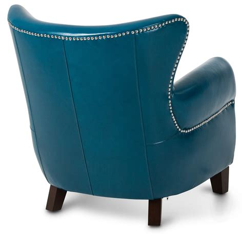 aico studio space ladon leather accent chair in teal blue