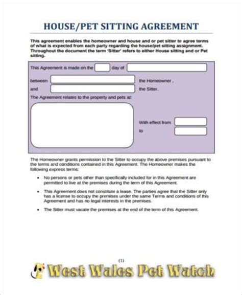 sample pet agreement forms