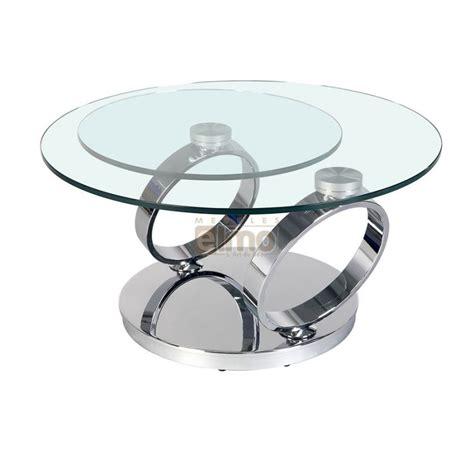 table ronde cuisine table basse ronde pied acier design verre plateau olympe