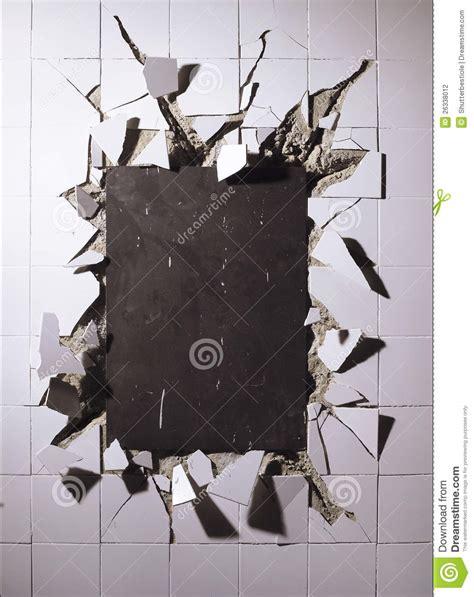 broken wall tiles stock photography image