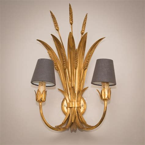 pair of gold large wheat leaf toleware wall lights the