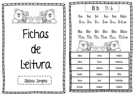 ficha leitura silabas simples