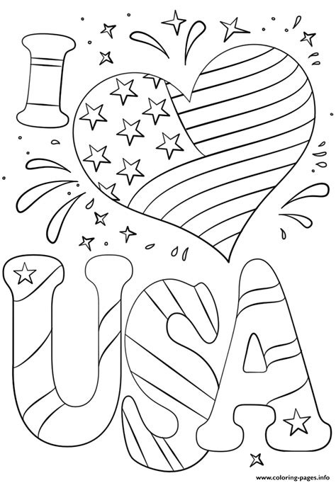 love usa  july coloring pages printable