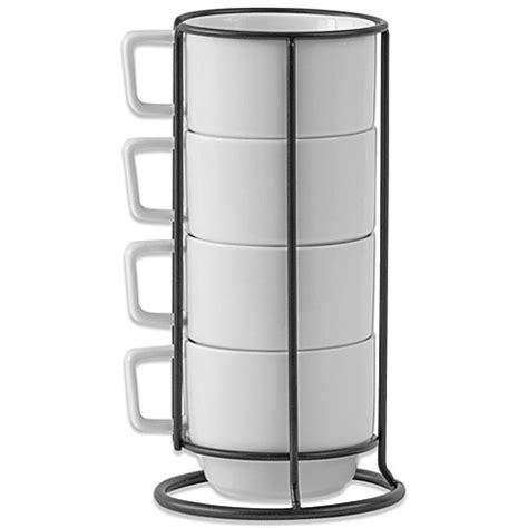 stackable mugs with rack b smith stacking mugs with metal rack set of 4 bedbathandbeyond com