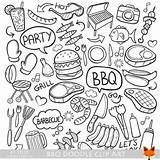 Barbecue Bbq Coloring Doodle Scrapbook Icons Clipart Line Etsy Doodles Drawing Designs Sketch Drawn Icon Vectors Unavailable Hand Sold Decoration sketch template