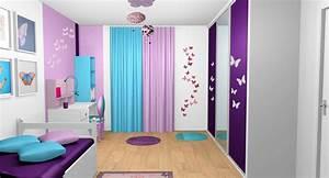 chambre fille violet mauve turquoise papillons bandes With deco chambre de fille