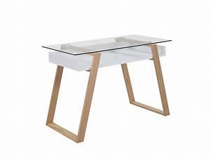 Schreibtisch Design Holz : schreibtisch modern holz mit glasplatte venla salesfever ~ Eleganceandgraceweddings.com Haus und Dekorationen