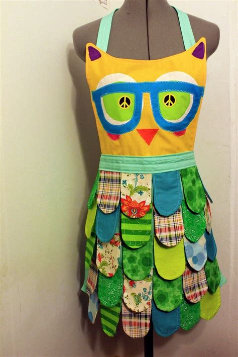 Nerdy Kitchen Aprons by Ready To Ship Seafoam Nerdy Rainbow Owl Apron Neon