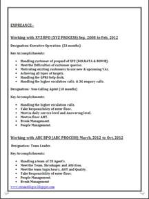 resume format in word document resume co bpo call centre resume sle in word document 6 years of work experience