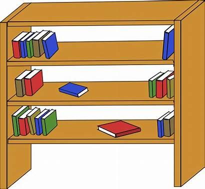 Clip Library Bookcase Shelves Clipart Books Furniture