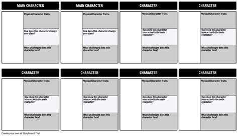 character template character map template 3 field filled in storyboard