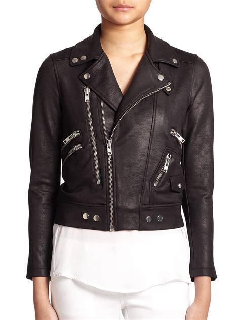 the kooples faux leather moto jacket in black lyst