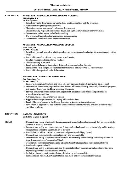 Professor Resume by Assistant Associate Professor Resume Sles Velvet