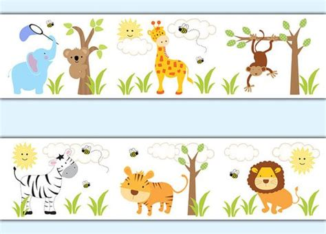 Baby Jungle Animals Wallpaper Border - safari jungle animal decal wallpaper border boy wall