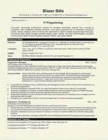 resume sle for computer programmer computer programmer resume exle