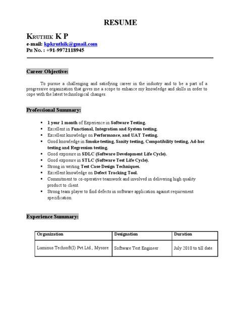 resume kruthik year experience  software testing