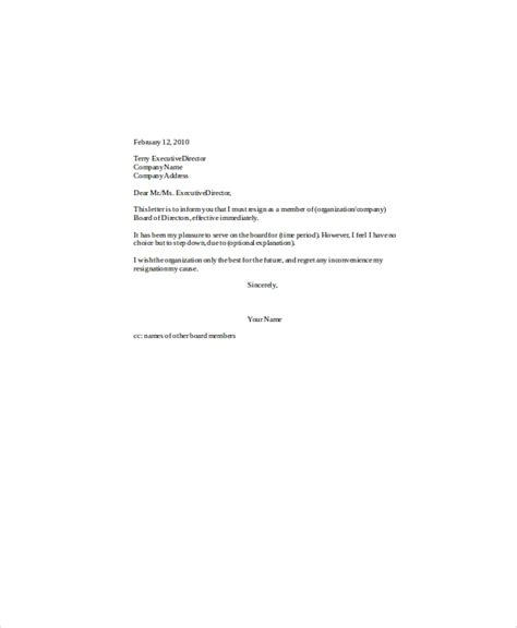 sample board resignation letter  examples   word