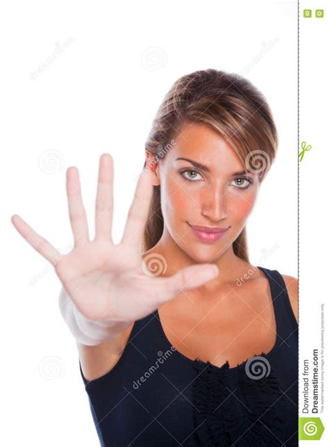 Woman Holding Her Hand Up Stock Image Image Of Nice
