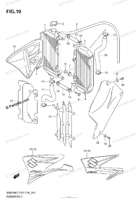 Suzuki Motorcycle Oem Parts Diagram For Radiator