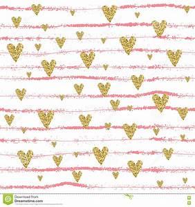 Vector Gold Glittering Heart Seamless Pattern Stock Vector ...