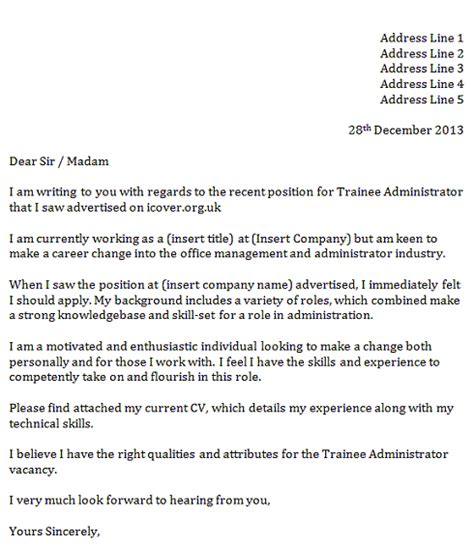 Cover Letter For Audit Trainee by Trainee Administrator Cover Letter Icover Org Uk