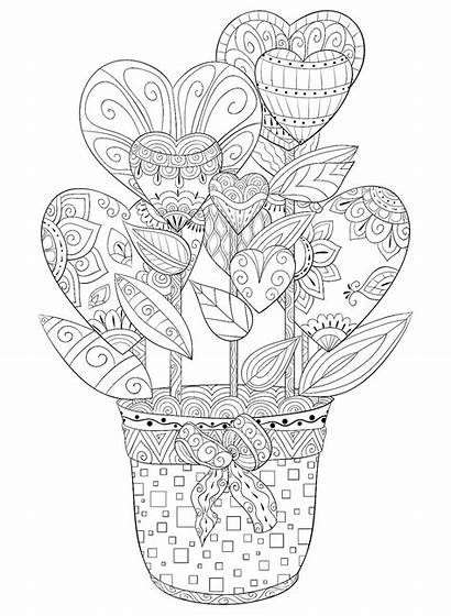 Coloring Valentines Pages Hearts Adult Printable Flowers