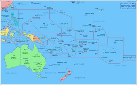 amateur radio prefix map  oceania